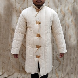 Long Sleeves Gambeson with Leather Front Closing