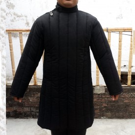 Front Closed Long Sleeves Gambeson with Straight Bottom and Neck Closing with Leather Strap
