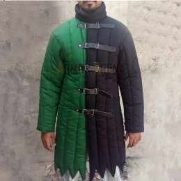 Medieval Gambeson in Two Colors with Long Sleeves and Pointed Bottom