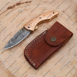Folding Damascus Knife