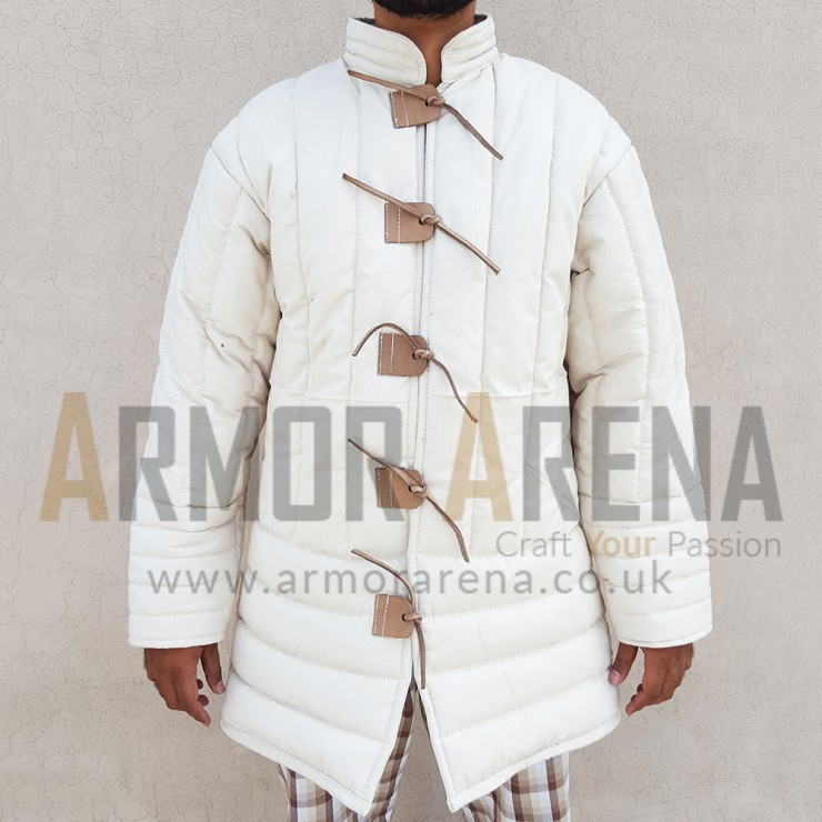 14th Century Medieval Gambeson with Leather String Closing
