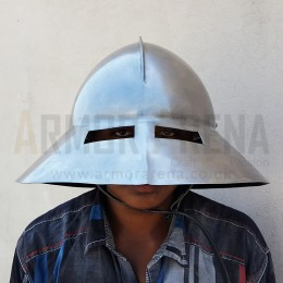 Medieval Kettle Hat with Oculars (Eye Slits)
